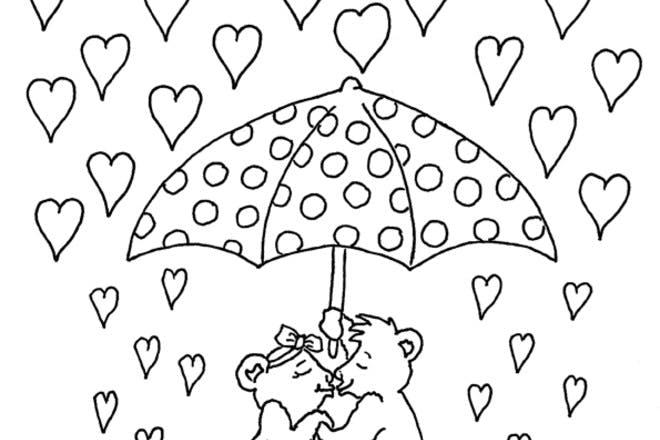 Raining hearts Valentine's card