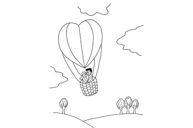 Heart-shaped hot air balloon Valentine's card