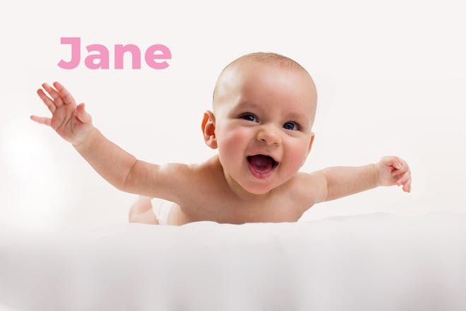 Baby lying on tummy with arms in air. Name Jane written in text