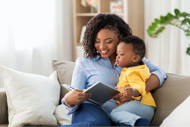 Mum reading to son
