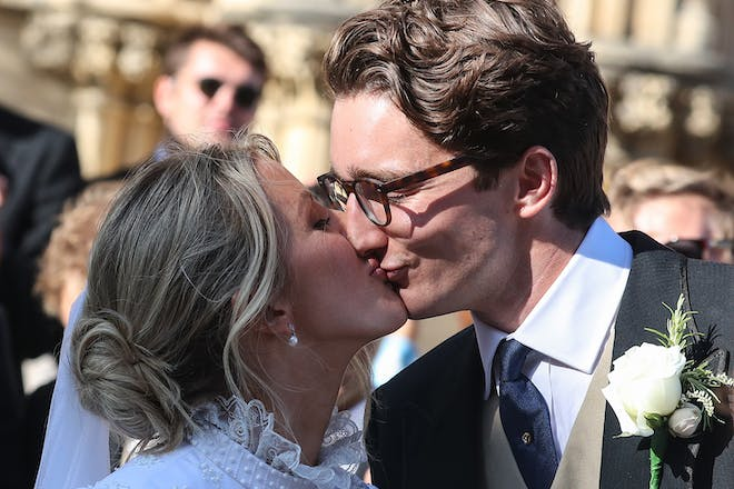 Ellie Goulding and husband kissing on wedding day