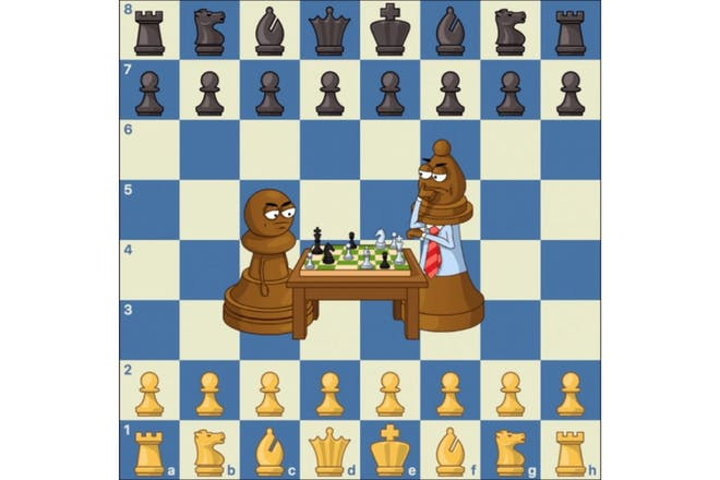 Graphic showing set up of a chess board