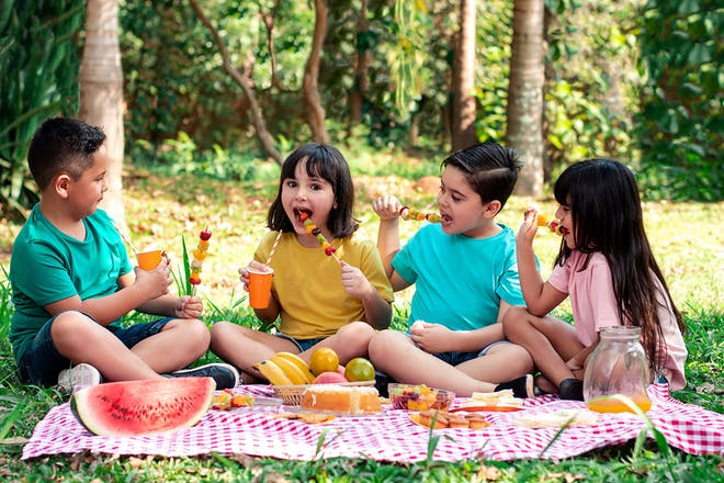 Four kids having a picnic