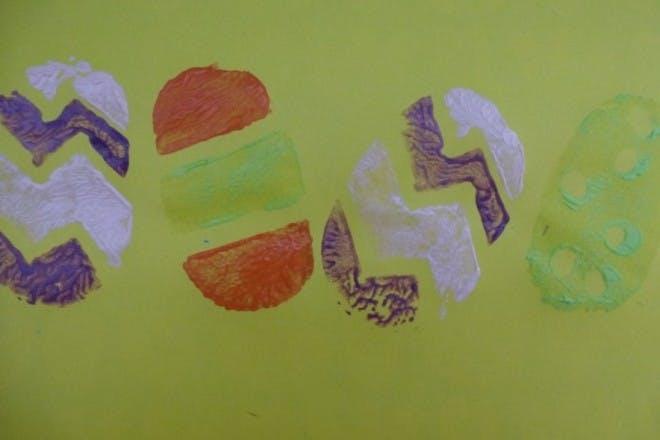 Potato print Easter eggs
