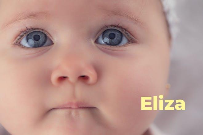 Baby looking upwards. Name Eliza written in text