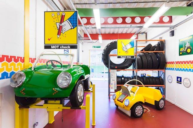 A mini garage at Eureka! Children's museum