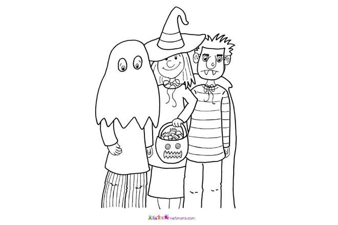 Halloween colouring page of halloween costumes