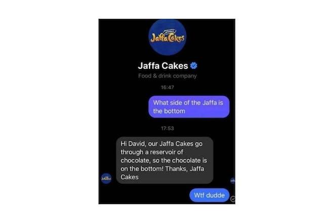 Screenshot from Jaffa Cakes conversation