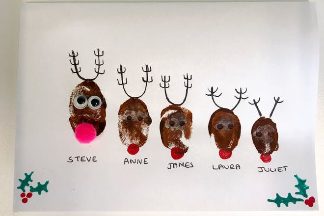 Thumbprint reindeer Christmas cards