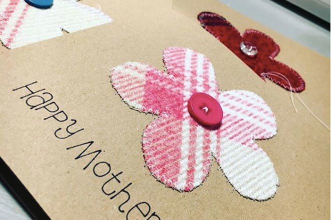 Mother's Day card with fabric flowers