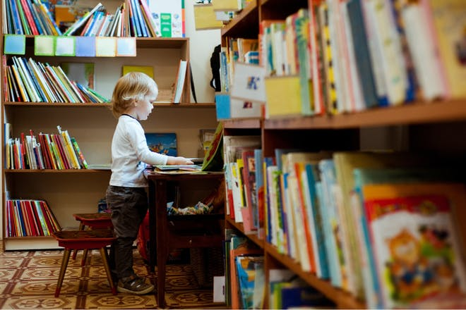 A toddler chooses a picture book off the shelf in a library