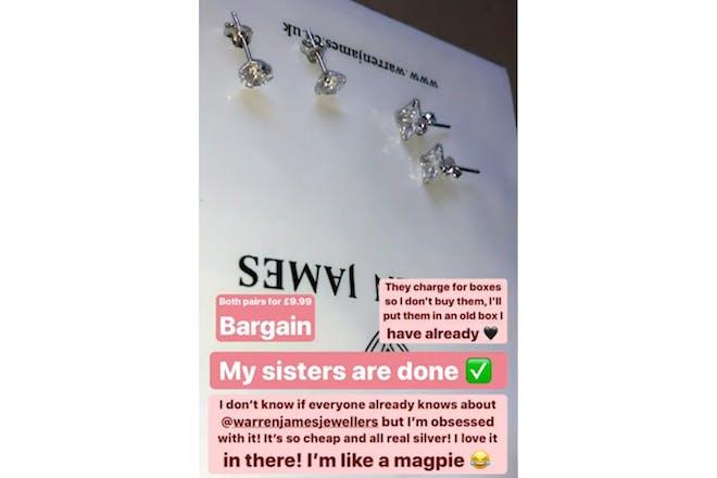 Stacey Solomon buys Christmas earrings