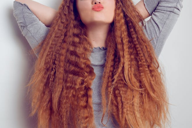 Woman with big crimped hair