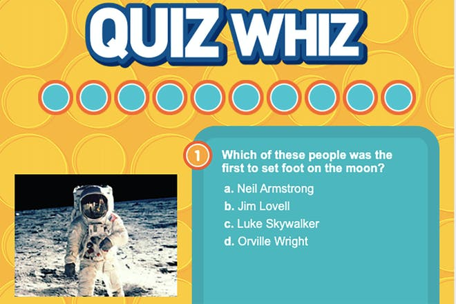 Screen shot from quiz asking who was first person to set foot on the moon