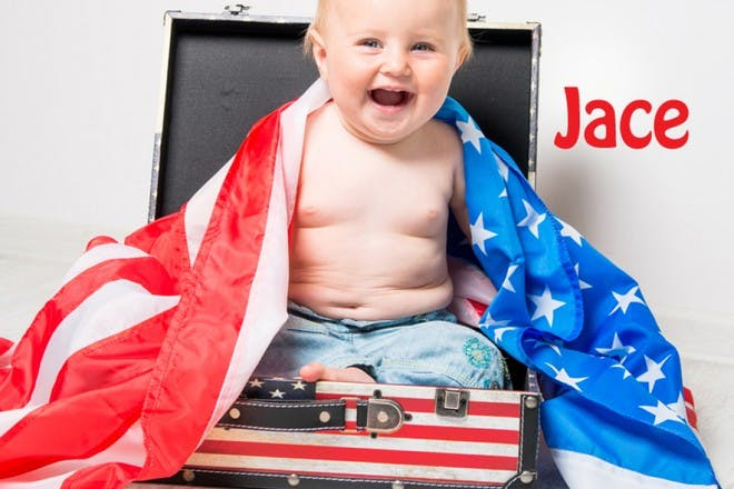 baby with american flag