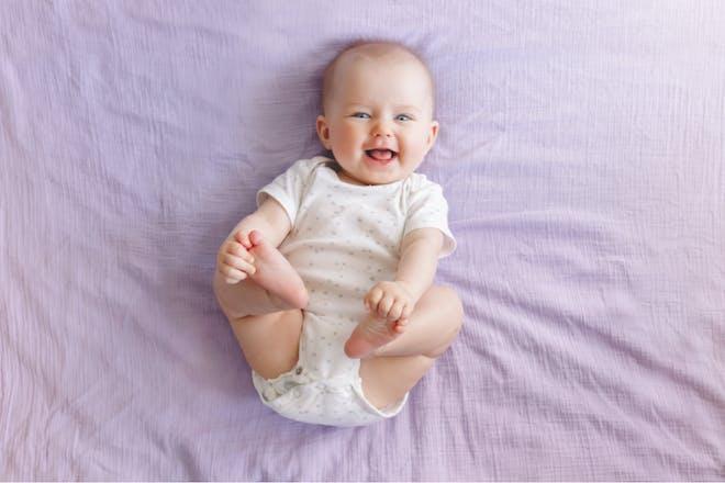 19-week-old baby smiling