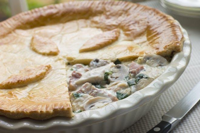 6. Chicken, gammon and mushroom pie