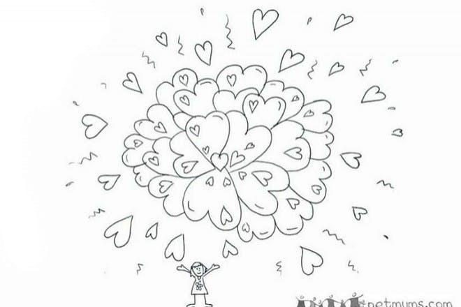 Heart explosion Valentine's card