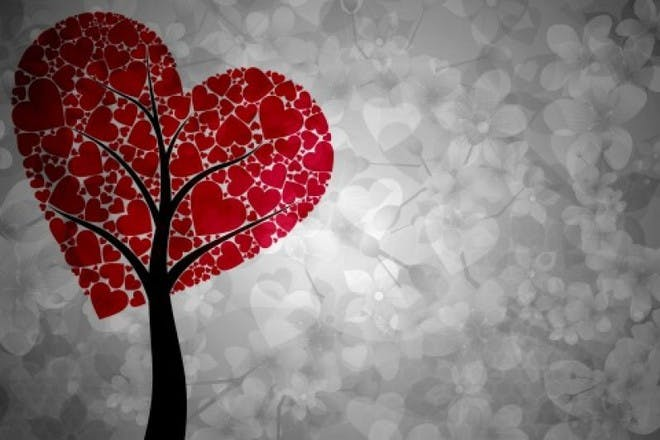 red hearts made to look like a tree on grey background