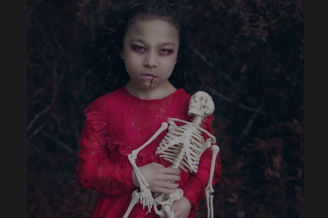 girl with skeleton