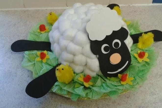 easter hat with a lamb on the top