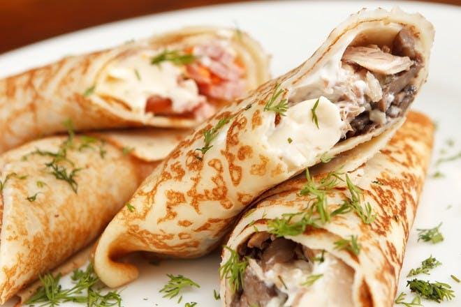 6. Chicken and mushroom pancakes