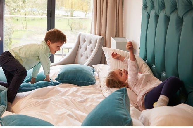 Kids in hotel room