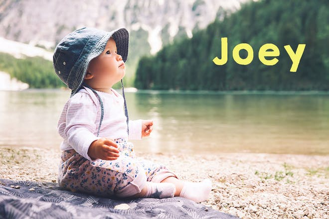 Baby sitting on shore of lake. text says Joey