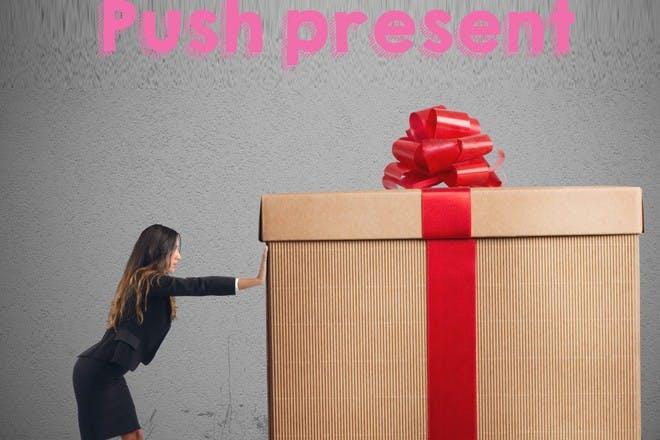 woman pushing large gift
