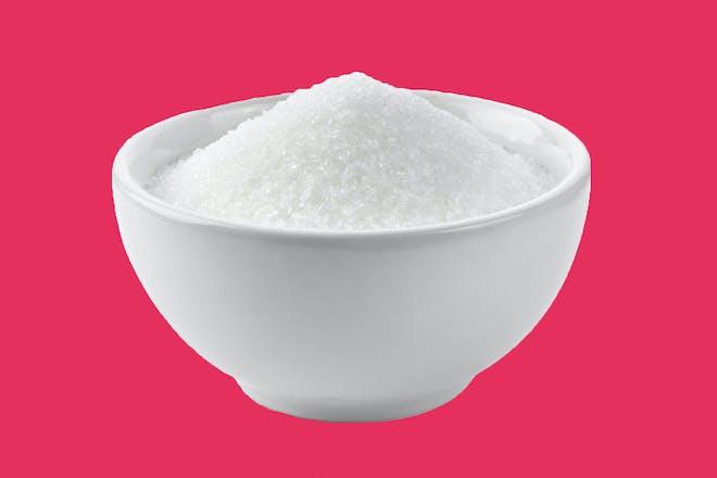 Grains of sugar in a bowl