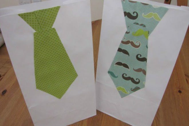 patterned tie gift bags