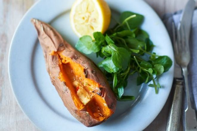 Baked sweet potatoes with ginger and lime butter