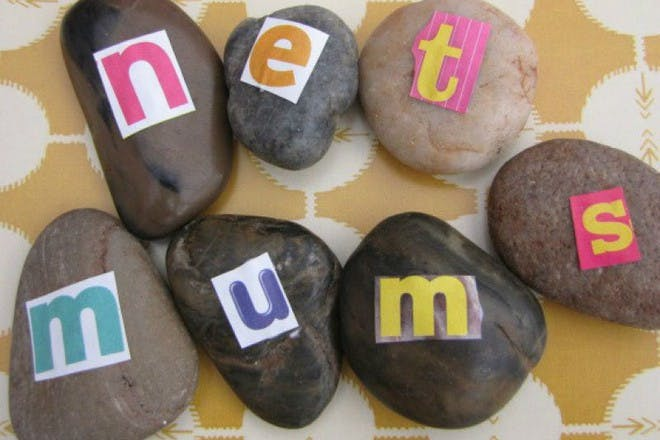 stones with letters on them