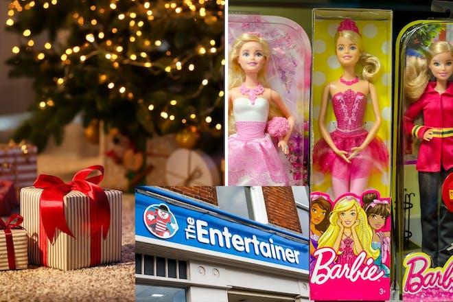 Left: Christmas presentsRight: BarbieInset: Toy shop
