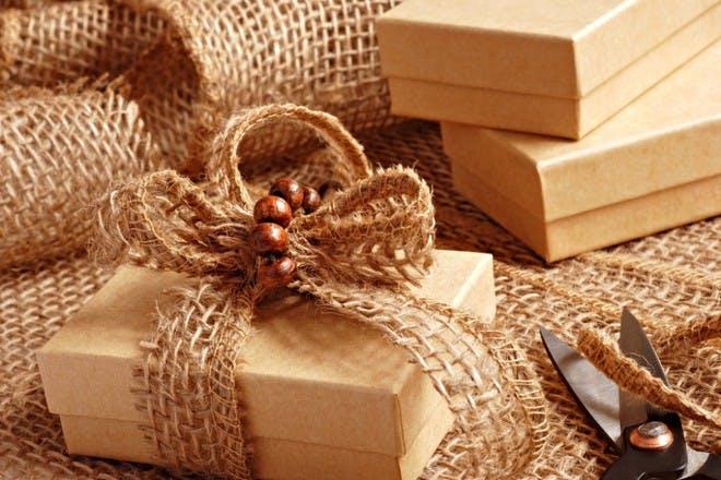 big bow on brown box