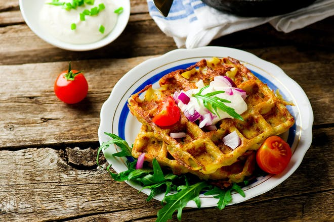 Waffles and tomatoes