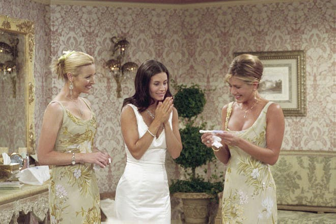 Rachel getting pregnancy test result in Friends with Phoebe and Monica