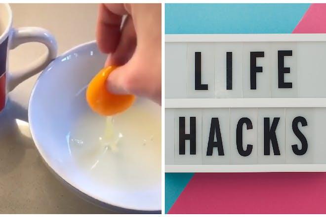 Egg hack and life hacks sign