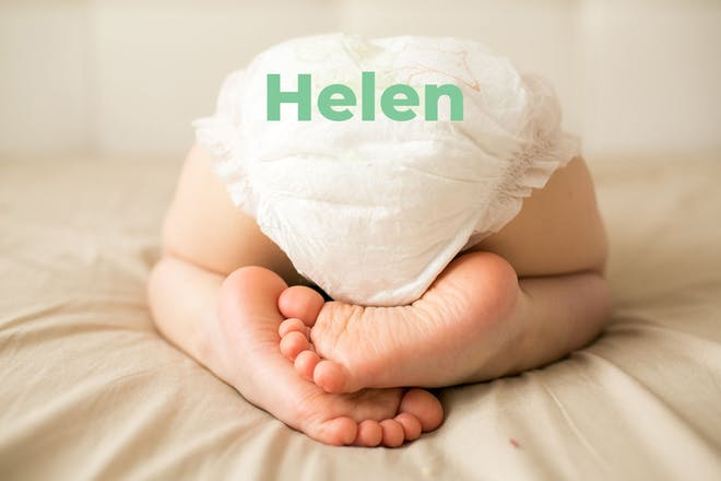 Baby's bottom in nappy. Name Helen written in text