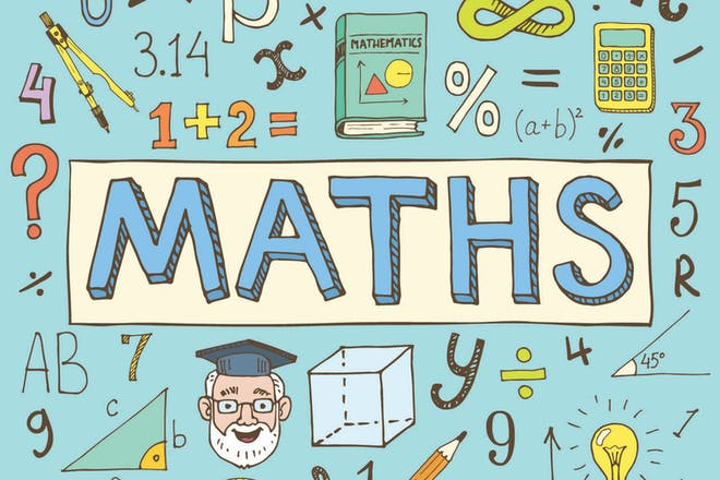 Colourful hand drawn pictures of maths symbols and the word Maths