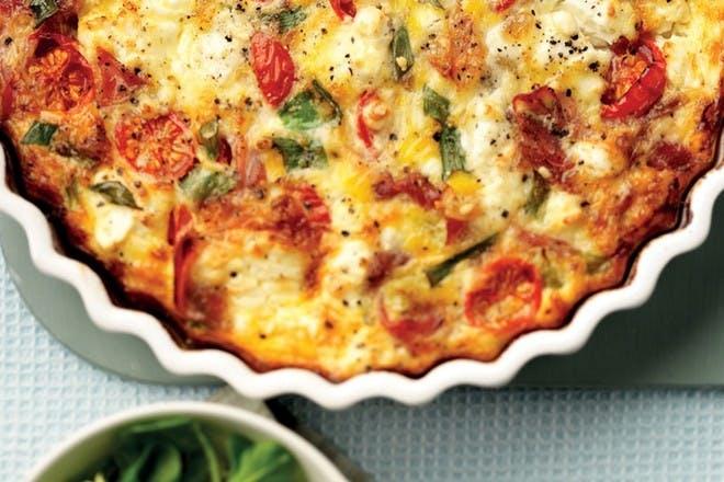 Feta, Parma ham and tomato crustless quiche