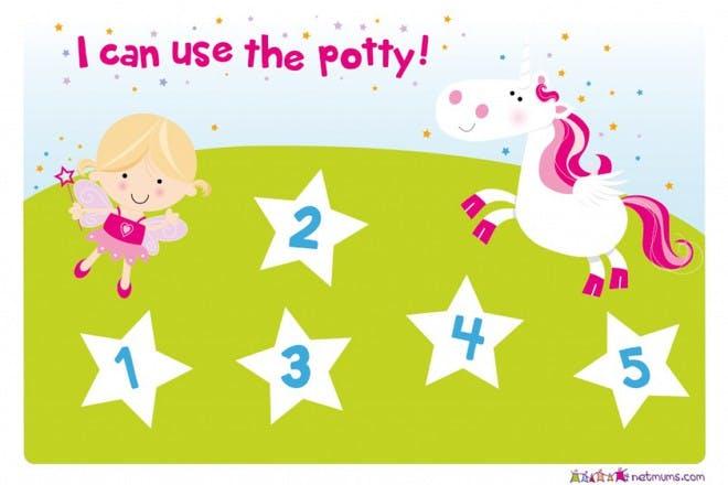 fairies and unicorn potty training reward chart