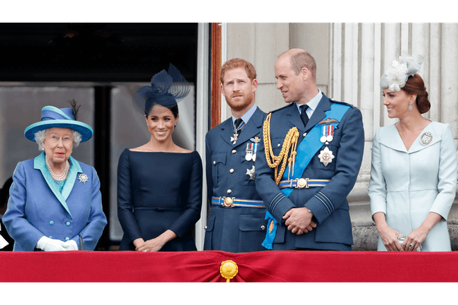 The Queen, Harry, Meghan, William and Kate