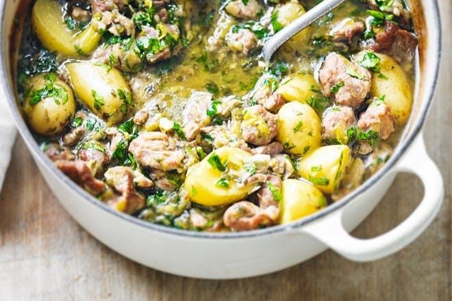 95. Lamb, leek and new potato casserole
