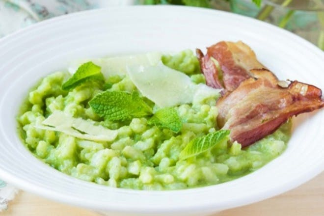 3. Risotto with peas and ham