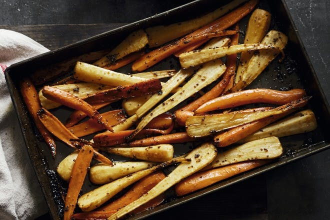 Maple-roasted parsnips and carrots
