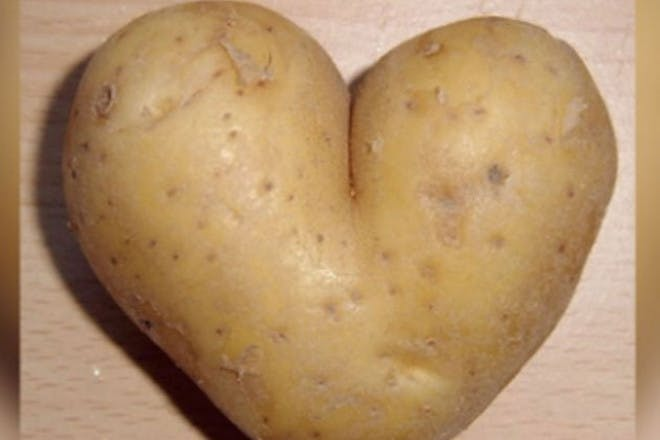 Potato in the shape of a heart