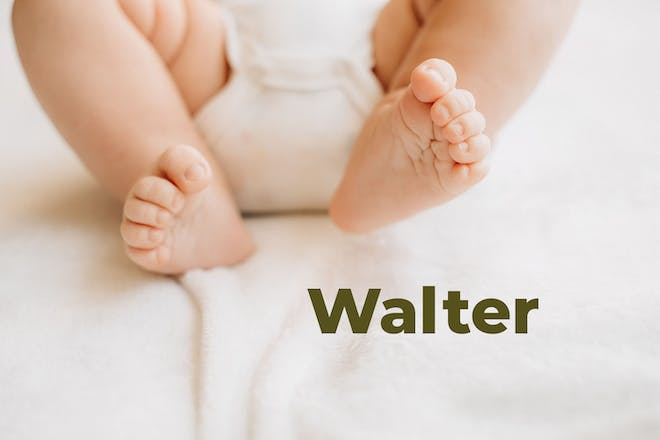 Baby's feet. Name Walter written in text
