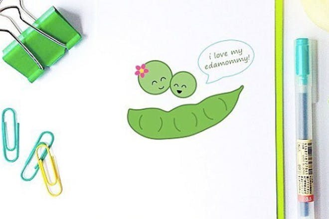 Mother's Day card with edamame beans