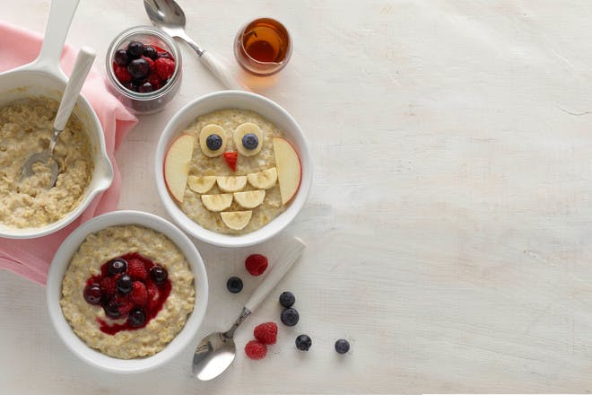 Annabel Karmel's almond milk porridge with berries, baby-led weaning recipe